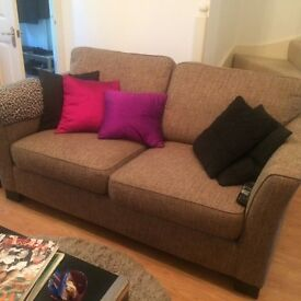 Brown Tweed 2 Seater Sofa