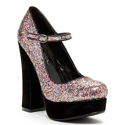 Gold Pink Glitter Mary Jane Round toe Chunky Heel Platform Women's shoes Artie-5 - Glitter Platform Mary Jane