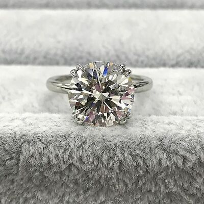 1Ct Round Cut Diamond Dual Claw Four Prong Solitaire Ring 14K White Gold Finish