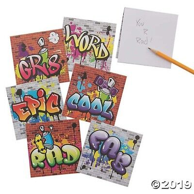 12 Graffiti NOTEPADS HIP HOP 80's attire BIRTHDAY Party Favors EPIC RAD COOL