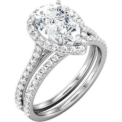 3.2 ct total Pear Shape & Round Diamond Halo Bridal set 14k Gold Ring GIA E VVS1