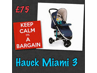 NEW HAUCK MIAMI 3 STROLLER PUSHCHAIR PRAM IN POOH READY TO PLAY FROM BIRTH - 3 UNISEX HALF PRICE