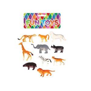 10 Assorted Mini Jungle Zoo Plastic Animal Figures Elephant Tiger Giraffe Toys
