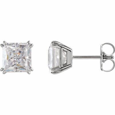 2.00 Ct. H/SI1 GIA Certified Princess Cut Diamond Stud Earrings 18K WG Push Back
