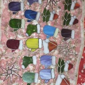 ASSORTED STAINED GLASS CHRISTMAS ORNAMENTS