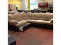 Corner sofa bed fabric, L shape, storage Delos - perfect condition-delivery available