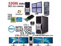 Super PC, Intel Xenon 11.7Ghz, Quad CORE, 32GB DDR3 RAM, 1TB HDD, 2x Nvidia 295 Quad Grahpics Cards