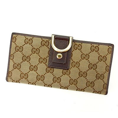 Gucci Wallet Purse Long Wallet GG Beige Brown Woman Authentic Used Y5699