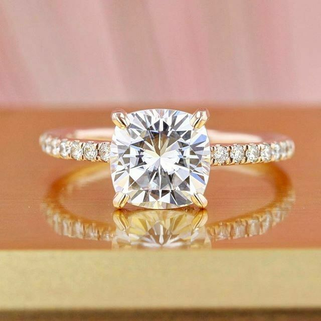1.70 Ct. Cushion with Classic Round Cut Diamond Engagement Ring GIA H,VS2 18K WG