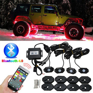 4 PODs led rock lights kit under car lights, offroad marine boat
