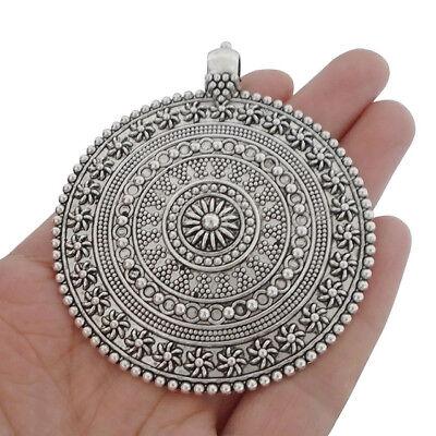 3pcs Antique Silver Large Tribal Boho Medallion Round Flower Necklace -