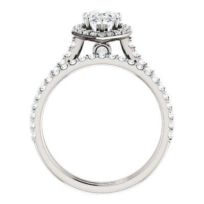 2.50 Ctw Halo Pear Cut U-Setting Pave Diamond Engagement Ring Set F,SI1 14K WG 1