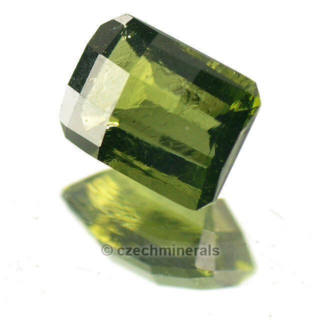 1.443cts rectangle octagon 8x6mm checker moldavite faceted cutted gem BRUS667