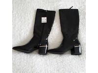 ZARA Brand new with tags black patent leather boots