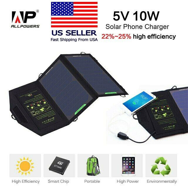 USA!! ALLPOWERS Solar Panel Battery Charger 10W 5V for Phone