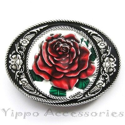 Rose Flower Cowgirl Western Metal Belt Buckle
