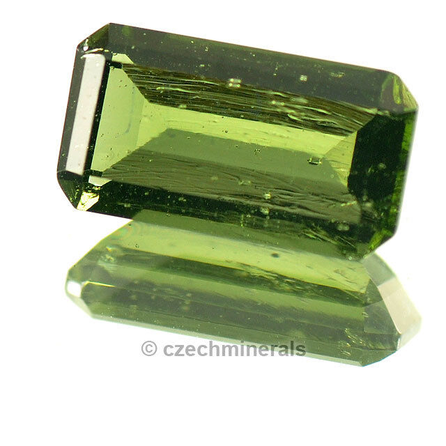 2.53cts rectangle octagon 7x12mm moldavite faceted cutted gem BRUS701
