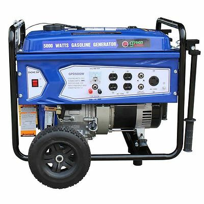 Green-Power America 5000W Portable Gas Powered Generator w/ Recoil Start