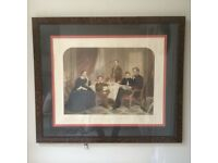 Lincoln Family Print framed in burr and glazed in good condition