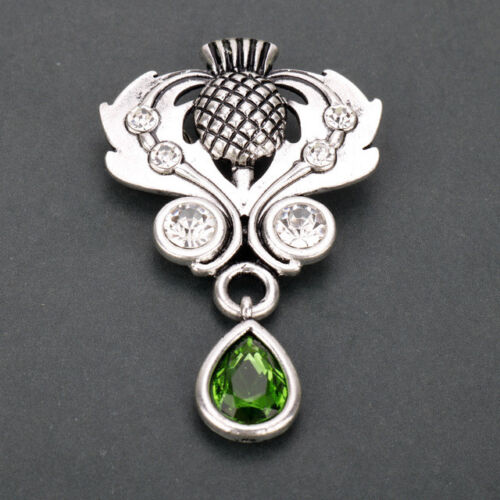 Celtic  Scottish Thistle Pin with Crystals