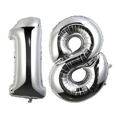 16 inch 18 Silver Number Balloons 18th Birthday Party Anniversary Foil Balloon