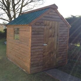 top quality 8ft x 6ft 20mm log board garden shed delivered and set up anywhere in