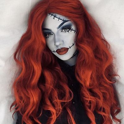 Synthetic Curly Wavy Wig for Women Orange Red Wig Cosplay Halloween Dress Party - Curly Red Wig For Halloween