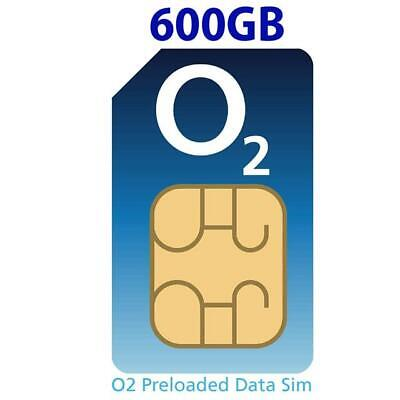 O2 4G Data Sim Card Preloaded with 600GB of Data. Free Roaming in 74 countriesFo