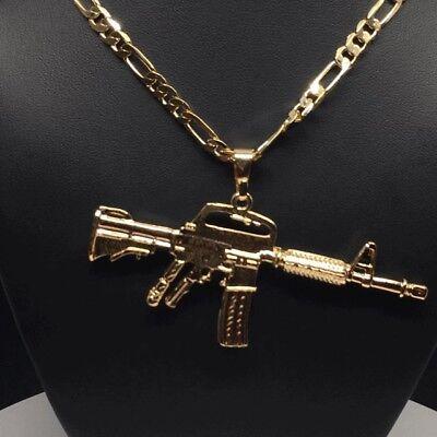 Gun pendantebay 1 gold cuerno de chivo machine gun pendant medalla necklace cadena oro lamina 26 mozeypictures Images