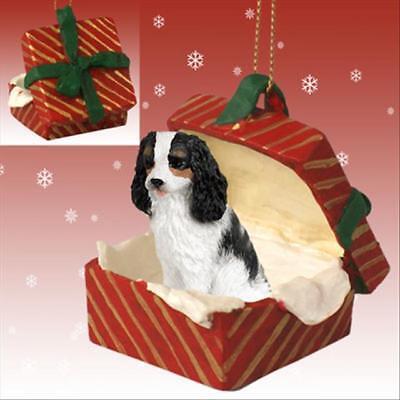 - Cavalier King Charles Spaniel Tri Dog RED Gift Box Holiday Christmas ORNAMENT