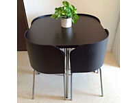 Ikea Fusion Space Saving Small Dining Table And Chairs Black/brown