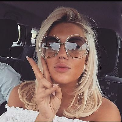 Vintage Big Oversized Large Double Wire Frame Oval Round Womens Huge Sunglasses (Round Wire Frame Sunglasses)