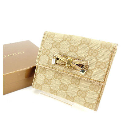 Auth GUCCI BifoldDouble Sided Wallet GG Canvas Ladies used Y3758