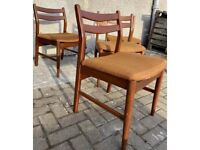 Midcentury Teak Dining Chairs by Jentique - Burnt Orange Rust Colour