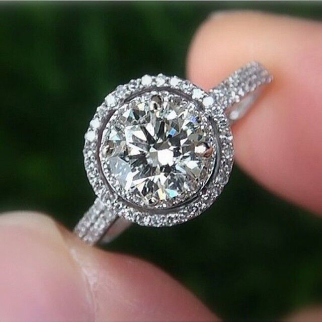 2.00ctw Natural Round Cut Double Halo 2 Row Micro Pave Diamond Ring GIA