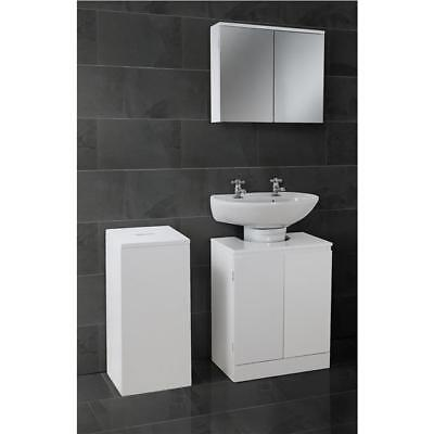 White High Gloss Bathroom Set Suite Double Mirror Cabinet Cupboard Under Sink