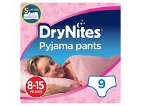 36 x Huggies DryNites Pyjama Pants Girl 8 to 15 years