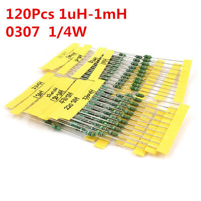 120pcs 14w Inductor Assortment 0307 0.25w Color Ring Inductors Kit Set 1uh-1mh