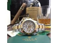 TwoTone Rolex Daytona with White Face with Automatic Sweeping Hands