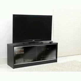 Black TV unit and nest of tables