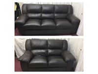 Brown leather 3/2 Seater Sofas