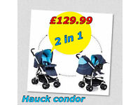 HAUCK CONDOR 2 IN 1 TRAVEL SYSTEM PRAM PUSHCHAIR IN MOONLIGHT BLUE WITH RAIN COVER AND BAG
