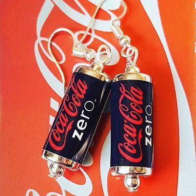 Unique COKE ZERO EARRINGS handcrafted drink SODA retro COCA COLA miniature CAN