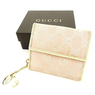 a3f6d144339 Gucci Wallet Purse Folding wallet GG Pink White Woman Authentic Used T2830