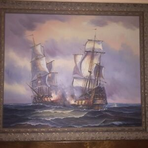 Original nautical oil painting signed by J.Harvey