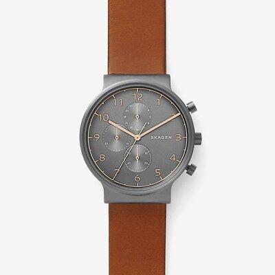 Skagen Original SKW6418 Men's Ancher Gray Dial Brown Leather Chronograph