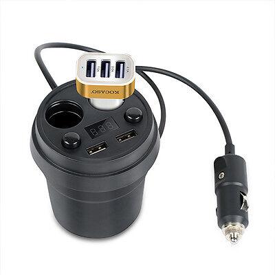 Car Charger Mount 2 Cigarette Lighter Socket Stand Dual USB Charging Cup - Car Mount Lighter Socket