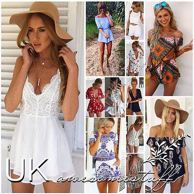 UK Womens Celeb Sexy Mini Playsuit Ladies Jumpsuit Summer Shorts Beach Sun Dress