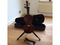 3/4 size violin in case with stand