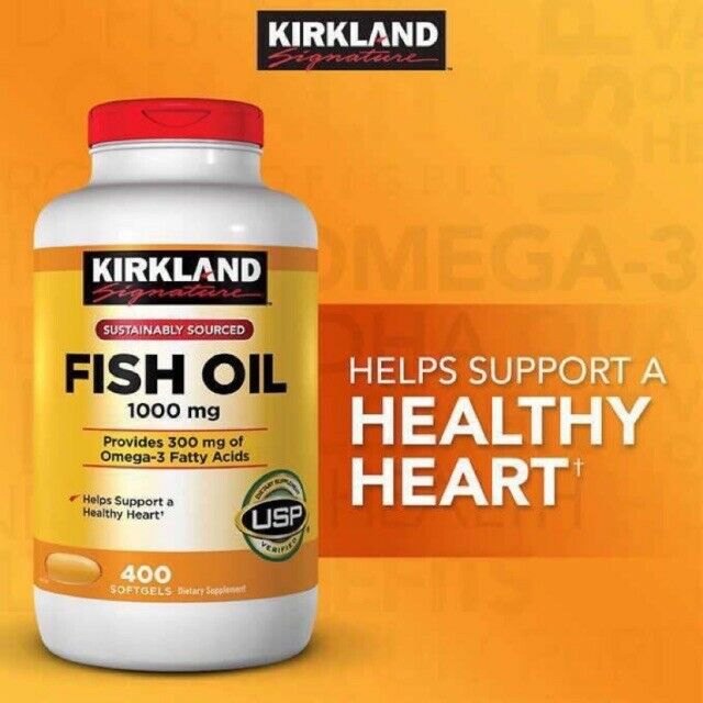 Kirkland Signature Omega-3 Fish Oil 1000 Mg, 400 Softgels EXP Aug./2022  - $16.99
